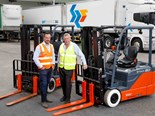 SRT Logistics CEO Rob Miller (left) with TMHA Hobart area sales manager, Rodney Jones, and the first of 36 new Toyota Material Handling forklifts and pallet jacks