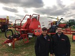 Croplands portfolio manager Steve Norton and Croplands general manager Sean Mulvaney with a Croplands 7000 Weed-It trailed sprayer.