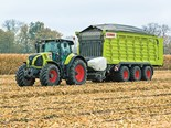 A Claas Axion 870 with a Cargos 9600