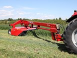 The Massey Ferguson 1316S RazorEdge disc mower conditioner requires a minimum PTO of 120 horsepower to operate