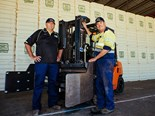 North West Ginning manager Wayne Clissold (left) and mechanic Richard Skelton with a new Toyota 8FD25 forklift.