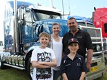 Trucking family: Chase, Teresa, Brett and Brock Gladman in front of their Kenworth T608 at the Riverina Truck Show.