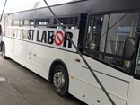 This is just one of many 'Don't Trust Labor' buses traversing Melbourne, Geelong, Ballarat and Bendigo, BusVic states.