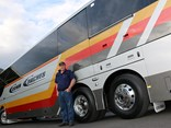 Cooma Coaches' Trevor Heise takes delivery of the special coach - the 1000th Coach Design body on Australasia's first 500hp Euro 6c chassis, from MAN.