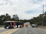 The bus driver, a Berwick man aged in his 40s, received minor injuries and was taken to hospital.
