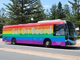"""The rainbow bus is a great way to share this event with our customers,"