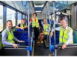 (L-R) Kinetic GM of SEQ Matt Campbell, Labor's Candidate for Burleigh Wayne 'Rabbit' Bartholomew, Labor's Candidate for Currumbin Kaylee Campradt, Surfside Buslines depot manager Allyson Robinson and Minister for Transport and Main Roads Mark Bailey.