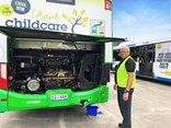 Volgren's Queensland-based after-sales specialist Brian Weller inspecting a bus for repair.