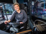 Transdev driver Pru from the company's Melbourne bus team, behind the wheel and loving it.