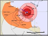 The BOM's tropical cyclone forecast track map for 11am