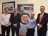 (L-R) Redstar Transport GM Chris Pearce, Bridgestone national commercial sales manager Geoff May, Bridgestone Bandag Highway Guardian Award winner John Fabian and ATA chair Geoff Crouch.