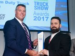 Award sponsor NTI's Craig Carmody (left) presents the award to Hino product strategy manager Daniel Petrovski