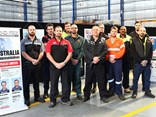 Competitors in Isuzu Australia's National Technical Skills Competition. Winner Michael Primmer and Runner-Up Jason Peterkin are second and third from left.