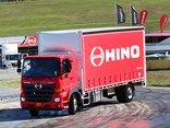 A Hino 500 Series Wide Cab demonstrates the vehicle stability control system