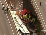 The incident on the Logan Motorway. Image: Channel 9