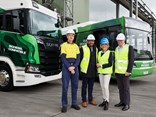 Just Biodiesel general manager Greg Boyall, Scania's Anthony King, Indi MP Helen Haines and Bioenergy Australia chairman John Hewson at the plant