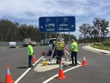One of the bigger signs for the truck stop restrictions trial