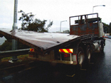 The damaged heavy rigid after the incident