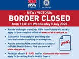 A NSW government and police notice of the border closure, including the fine for non-compliance