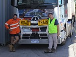 Sterle and Dumesny with the donated truck