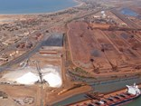 Port Hedland and its iron ore piles