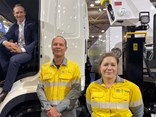 Mick de Brenni in the SEA Electric medium rigid at the Brisbane Truck Show, with Energex area manager Trevor King and fleet manager Sonia Gollschewski