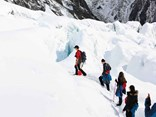 Up the snow-covered Franz Josef Glacier