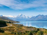 Lake Pukaki is a vibrant blue on a sunny day
