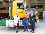 Left to right: Mary Campbell, general manager of TAFE Queensland SkillsTech; Ryan Stewart, apprentice at VCV Brisbane; and Peter Voorhoeve, president of Volvo Group Australia