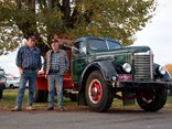 Gordon Garner (right) and his son Malcolm Garner from Tumut with their 1947 International KB7 at the Gundagai Truck Show.
