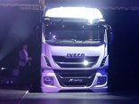 The new Iveco Stralis X-Way prime mover makes a grand entrance at the Melbourne Convention and Exhibition Centre.