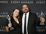 HVIA Chief Executive Todd Hacking and Events Coordinator Teagan Hadley with the two awards!