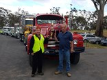Castlemaine Rotary President Christine Barkla with convoy winner Owen Leech.