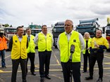 Prime Minister Scott Morrison greets the media at Volvo Group Australia headquarters in Wacol, Brisbane.