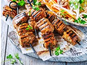 Sweet and spicy pork skewers