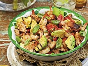 BBQ lemon prawns with chargrilled avocado panzanella salad