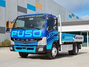 Fuso eCanter on the road and show at Brisbane Truck Show