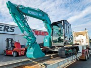 Kobelco LiftRite excavator achieving efficient tree harvesting