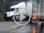 Video: Idiot truck drivers