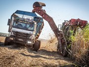 Automated Mercedes trucks used for Brazilian sugar cane harvest
