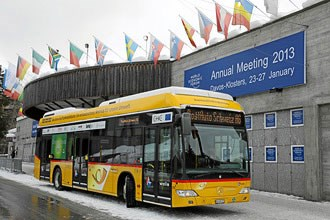 New-generation fuel-cell buses drive Davos delegates
