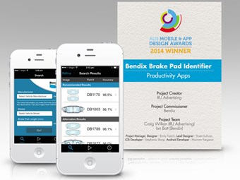 Bendix brake pad phone app wins design award