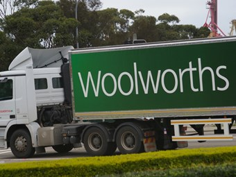 Truckies pick up the slack as Woolies fends off strike