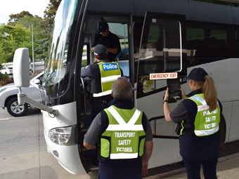MELBOURNE AIRPORT BUS SAFETY BLITZ GROUNDS TWO