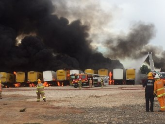 Massive fire destroys 23 trailers in north Adelaide