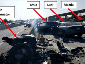 Tesla automated vehicle sped up before crash