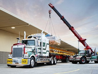 Kenworth crane carrier at work at 'home'