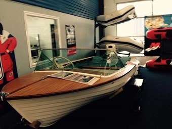 1962 Fi-Glass Fisherman on display at NZ Boat Show