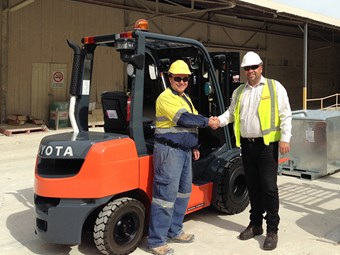 Super-tailored Toyota forklift starts work at lime plant