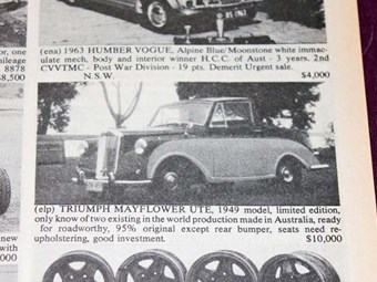 Triumph Mayflower ute & Torana HB - the cars that got away